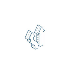 Junction separation two paths ways isometric icon vector