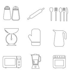 kitchen pictograph icon outline set a set vector image