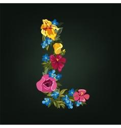 L letter Flower capital alphabet Colorful font vector image