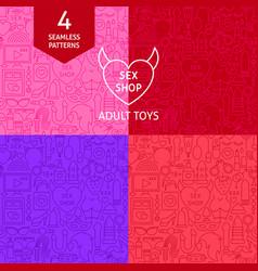 Line sex shop patterns vector
