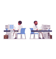 Male black scientist working at desk vector