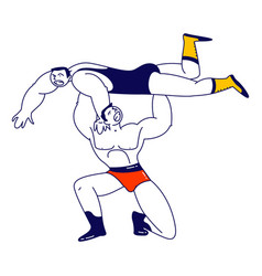 Male characters wrestling fight sportsman holding vector