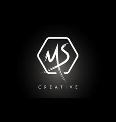 Ms m s brushed letter logo design with creative vector
