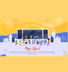 music festival flat advertising banner vector image