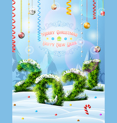 new year 2021 christmas tree twigs in snow vector image