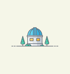 Observatory building icon vector