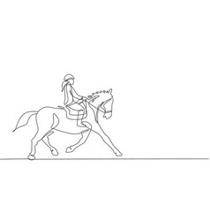 one continuous line drawing young horse rider vector image