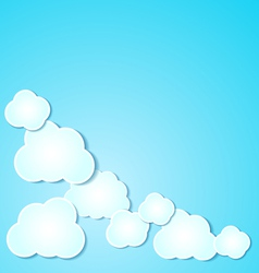 Paper clouds background on blue vector image