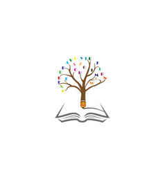 pencil tree with the alphabet in twigs and write vector image