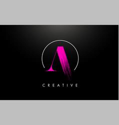pink a brush stroke letter logo design paint vector image