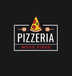 pizzeria logo linear logo pizza slice on dark vector image