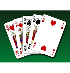 Poker hand - Four of a kind vector image