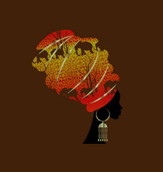 Portrait beautiful silhouette african woman turban vector