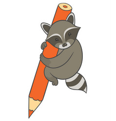Raccoon holding large colored pencil vector