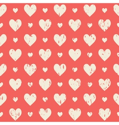 red retro seamless pattern with hearts vector image