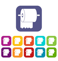 roll of toilet paper on holder icons set flat vector image