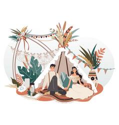 romantic couple in boho style decorative tent vector image