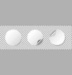 round empty stickers with rolled corner and shadow vector image