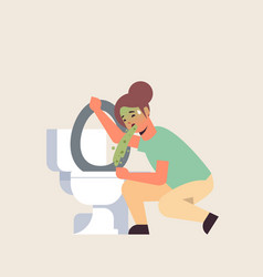 Sad woman vomiting in toilet nausea stomach ache vector