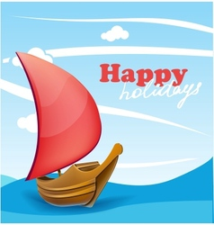 Sail boat on sunny seaside background vector
