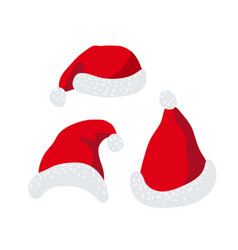 santa claus red hats set isolated vector image