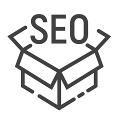 seo package line icon seo and development box vector image