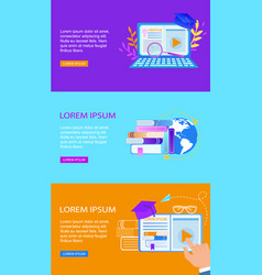 Set of educational banners distance e-learning vector