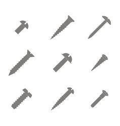 set of monochrome icons with screws and bolts vector image
