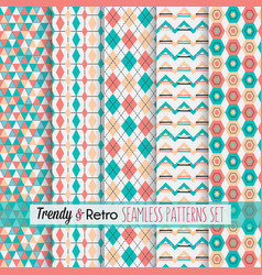 Set of pink and teal modern and retro patterns vector