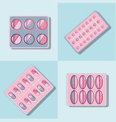 set treatment pills to reduce illness vector image