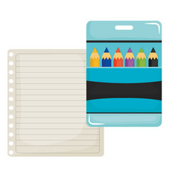Sheet notebook paper with colors pencils box vector