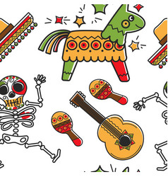 skeleton and guitar maracas and sombrero pinta vector image