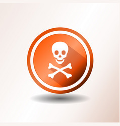 skull and crossbones icon in flat design vector image