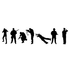 soldiers silhouettes on white background vector image