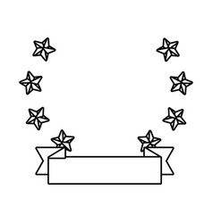 stars with ribbon banner isolated black and white vector image