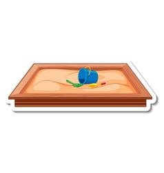 Sticker template with sandbox for playground vector