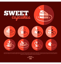 Sweet cupcakes Flat icon set vector image