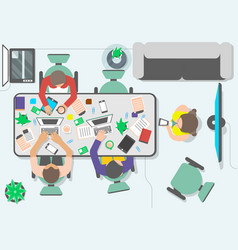 top view teamwork business people in office vector image