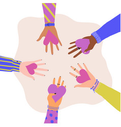 trendy with different hands holding hearts vector image