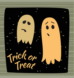 Trick or treat calligraphic poster with ghosts vector