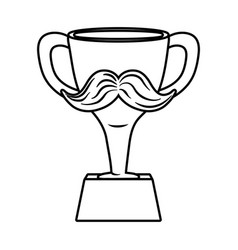 trophy with moustache black and white vector image