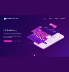 ui ux analytics dashboard isometric landing page vector image