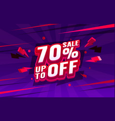 up to 70 off sale banner promotion flyer retro vector image