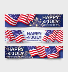 Usa independence day three horizontal banners vector