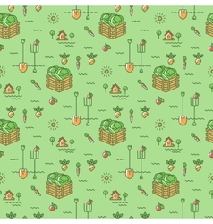 Vegetables garden seamless pattern Agriculture vector image