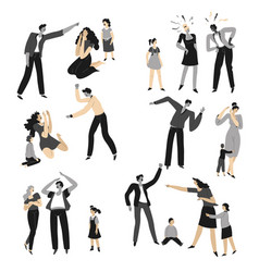 violence and quarrels in family mom and dad vector image