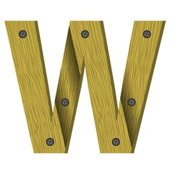 Wood letter W vector