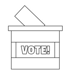 wood vote box icon outline style vector image