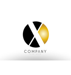 X black white gold golden letter logo design vector