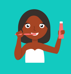 young african-american woman brushing teeth vector image